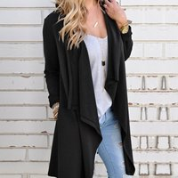 Casual Knitted Long-sleeve Cardigan in Black