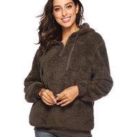 Trendy Plush Hooded Pullover