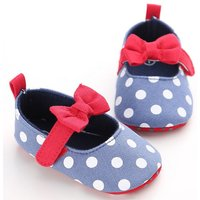 Sweet Bowknot Decor Polka Dotted Flats for Toddler Girl
