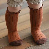 Trendy Striped Ruffled Stockings for Baby Girl