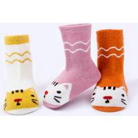 3-pack Lovely Cat Pattern Socks for Baby and Toddler