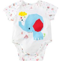 Cute Elephant and Ship Print Short Sleeves Bodysuit for Baby Girl