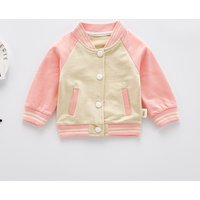 Trendy Color-blocking Fruit Embroider Baseball Jacket for Baby and Toddler