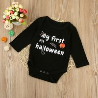 Cute 'My First Halloween' Print Black Cotton Jumpsuit for Baby