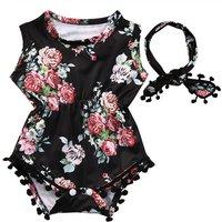 Beautiful Flower Print Sleeveless Tassel Bodysuit and Headband Set for Baby Girl