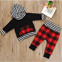 2-piece Trendy Stripes Hooded Top and Plaid Pants Set for Baby