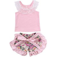 2-piece Sweet Lace Collar Tank and Ruffled Floral Shorts Set for Baby Girl