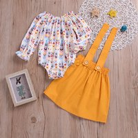 2-piece Sassy Patterned Bodysuit and Suspender Skirt Set for Baby and Toddler Girl