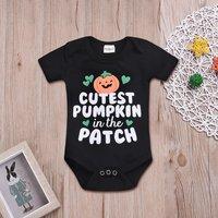 Fashionable Halloween Pumpkin Print Short-sleeve Bodysuit for Baby