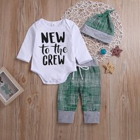 3-piece Casual Letter Print Long-sleeve Romper, Plaid Pants and Hat Set