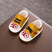 Cute Appliqued Big Eyes Leather Shoes for Toddler