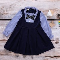 Chic Striped Pleated Stringy Selvedge Long-sleeve Dress for Toddler Girl and Girl