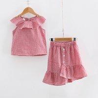 Fashion Plaid Ruffle Sleeveless Top and Irregular Skirt Set for Toddler Girl