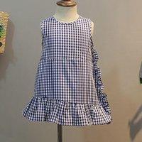 Trendy Plaid Ruffled Asymmetric Sleeveless Dress for Toddler Girl and Girl