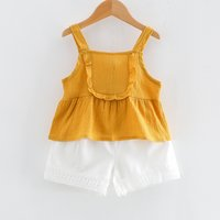 Sweet Ruffle Strap Top and White Shorts Set for Toddler Girl and Girl