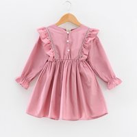 Trendy Embroider Solid Long-sleeve Dress for Toddler Girl and Girl