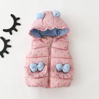 Baby Girl's Sweet Bowknot Polka Dots Printed Hooded Vest