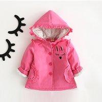 Pretty Rabbit Applique Hooded Coat for Baby Girl