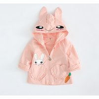 Adorable Rabbit Print Long-sleeve Hoodie for Baby Girl