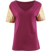 Sexy V Neck Sequined Short-sleeve Tee
