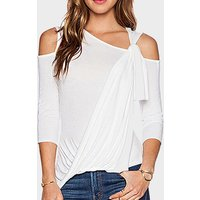 Stylish Pleated Cold Shoulder Top