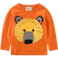 Cute Bear Lion Print Long Sleeves Tee for Baby and Kid