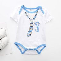 Trendy Tie Print Short-sleeve Bodysuit in White for Baby Boy