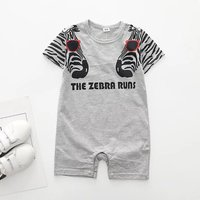 Cute Zebra Print Short-sleeve Romper in Grey for Baby Boy