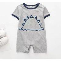 Lovely Dinosaur Print Short-sleeve Romper in Grey for Baby Boy
