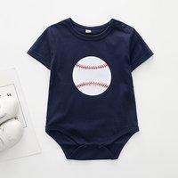 Trendy Baseball Print Short-sleeve Romper in Dark Blue for Baby Boy