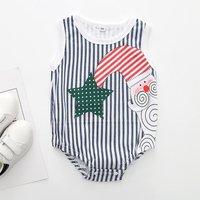 Lovely Santa Claus Print Striped Sleeveless Bodysuit for Baby Girl