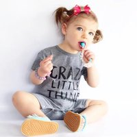 Cool Letter Print Short-sleeve Romper in Grey for Baby Boy