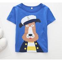 Toddler Boy's Captain Dog Print Short Sleeve Tee
