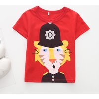 Toddler Boy's Soldier Lion Print Short Sleeve Tee in Red