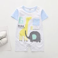 Cute Giraffe and Elephant Print Short-sleeve Romper for Baby Boy