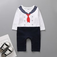 Navy Style Printed Color-blocking Long-sleeve Jumpsuit for Baby Boy