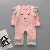 Cute Elephant Print Ruffled Long-sleeve Jumpsuit for Baby Girl