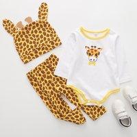 Baby Boy's Giraffe Print Long-sleeve Romper Pants and Hat Set