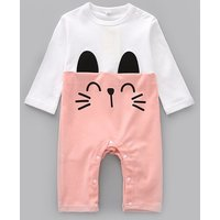 Adorable Cat Print Color Blocking Jumpsuit for Baby Girl