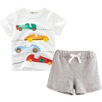 Soft Toddler Boy's Four Cars Print Short-sleeve Tee and Shorts Set