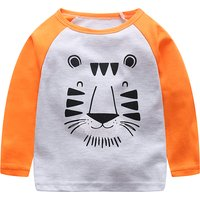 Cute Sleeping Tiger Print Long-sleeve Tee for Toddler Boy and Boy