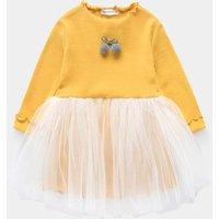 Lovely Pompom Bow Tulle Overlay Long-sleeve Dress