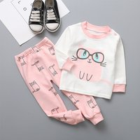 2-piece Cute Cat Print Long-sleeve Top and Pants Set