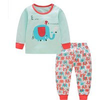 2-piece Casual Elephant Print Long-sleeve Top and Pants Set