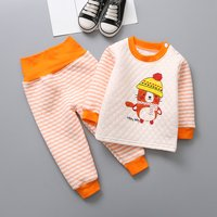 Cute Cat Print Long-sleeve Top and Striped Pants Set