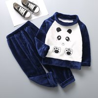 Lovely Panda Embroidered Splice Long-sleeve Top and Pants