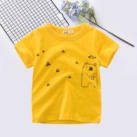 Casual Cartoon Bear Triangle Print Short-sleeve Tee for Boy