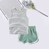 Casual Letter Print Sun Sleeveless Vest and Striped Shorts Set