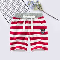 Casual Badge Striped Shorts