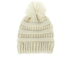 Solid Pompom Decor Crochet Hat
